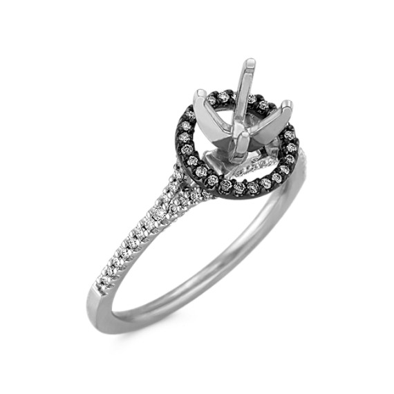Halo Engagement Ring in 14k White Gold & Black Rhodium