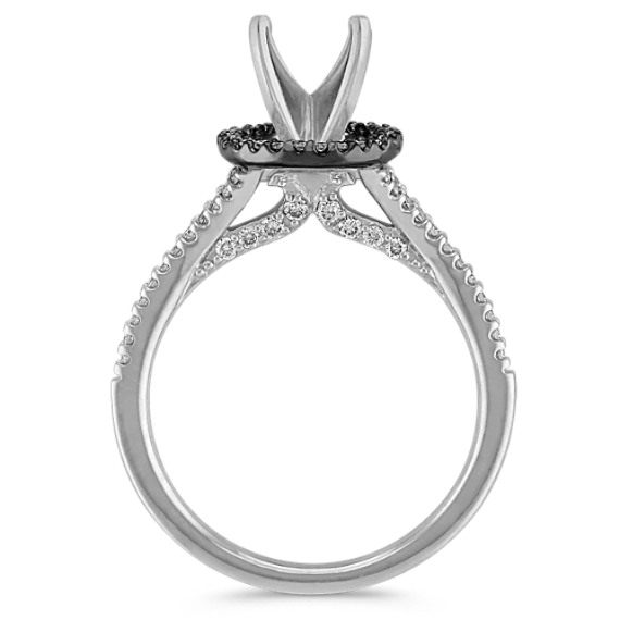 Halo Engagement Ring in 14k White Gold & Black Rhodium