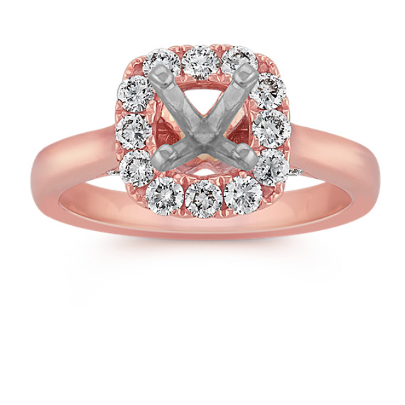 Halo Engagement Ring in Rose Gold with Pavé Setting at Shane Co