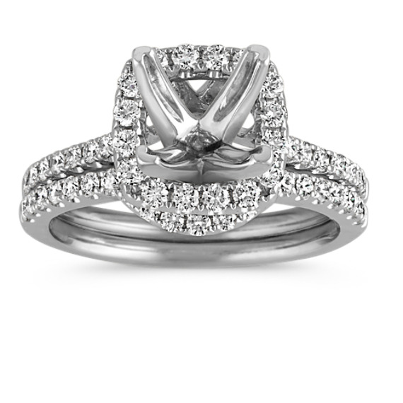 Halo, for 1.50 carats, Diamond Wedding Set with Pavé Setting