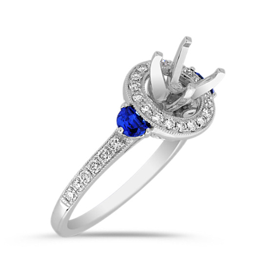 Halo Half Moon Shaped Sapphire and Round Diamond Engagement Ring