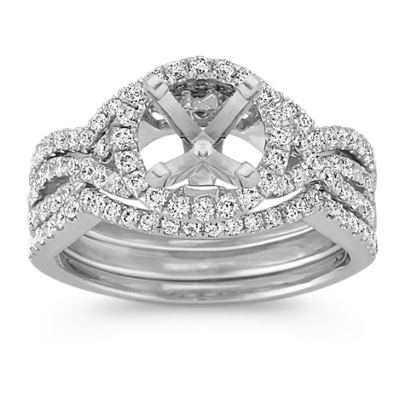 Halo Infinity Diamond Triple Band Wedding Set with Pavé-Setting