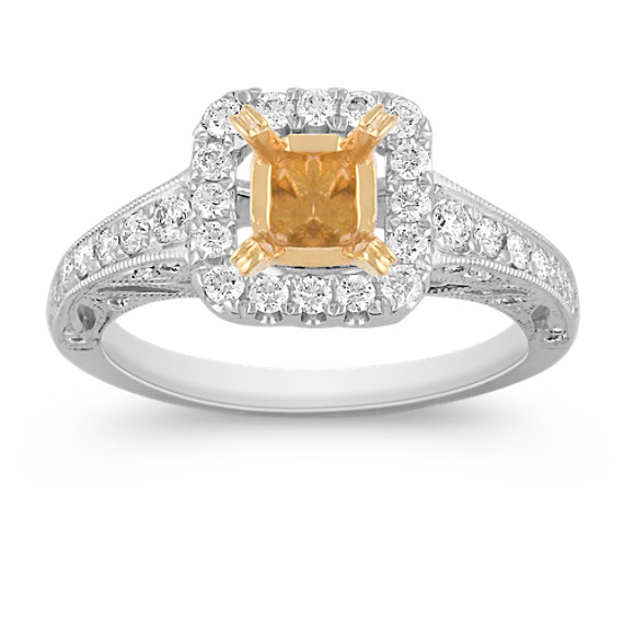 Halo Pavé Set Diamond Engagement Ring in Two-Tone Gold