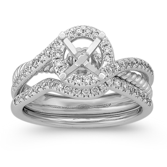 Halo Pavé Set Diamond Split Shank Wedding Set
