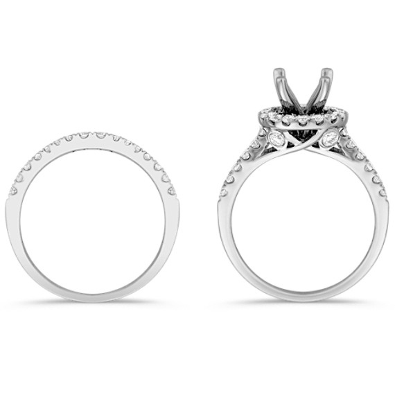 Halo Pavé Set Diamond Wedding Set