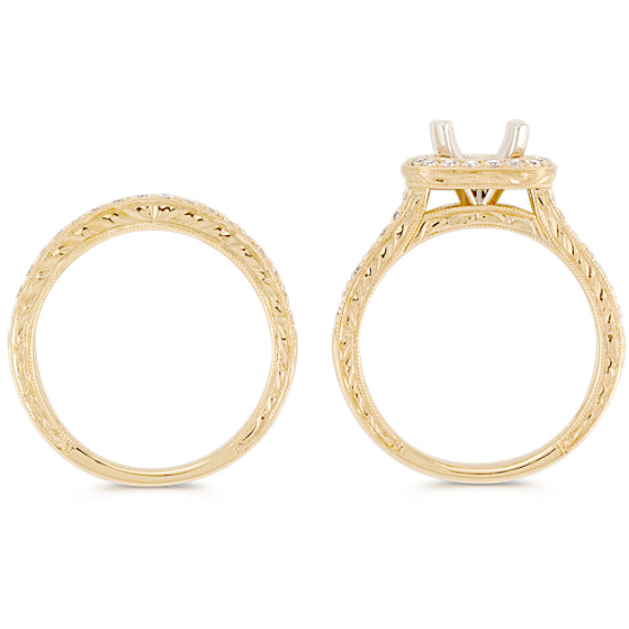 Halo Pavé-set Diamond Wedding Set