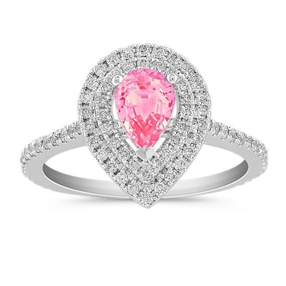 Halo Pear Shaped Pink Sapphire and Diamond Ring