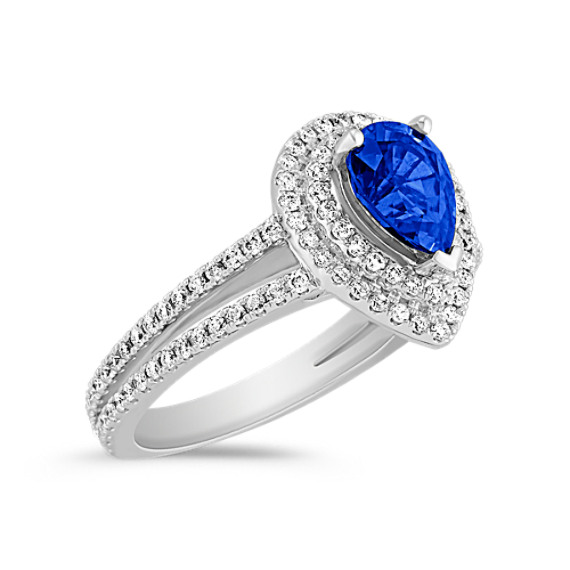 Halo Pear Shaped Sapphire and Diamond Engagement Ring