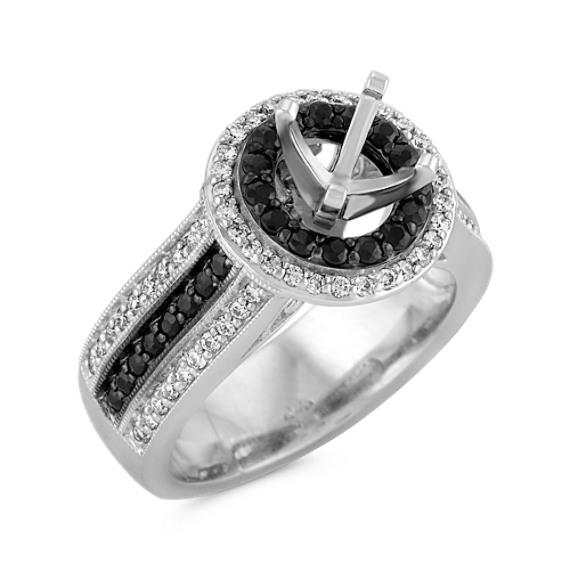 Halo Round Black Sapphire and Diamond Engagement Ring with Black Rhodium