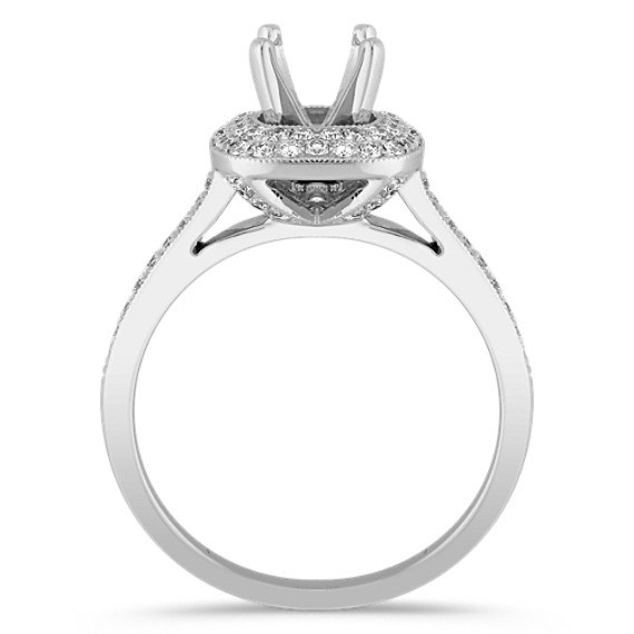 Halo Round Diamond Platinum Engagement Ring