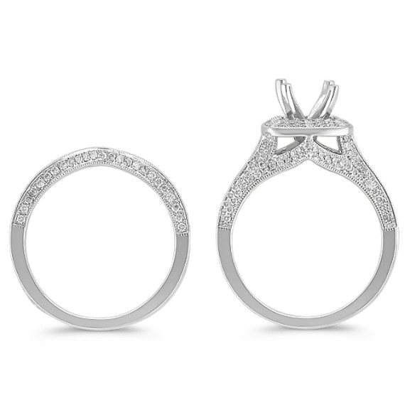 Halo Round Diamond Wedding Set
