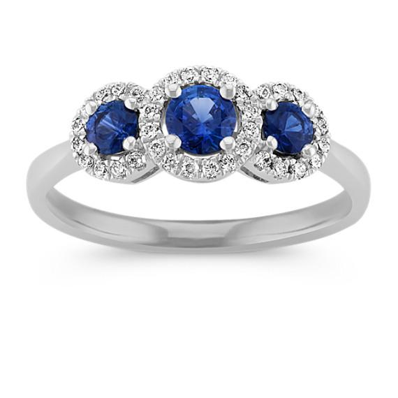 Halo Sapphire Three Stone Ring