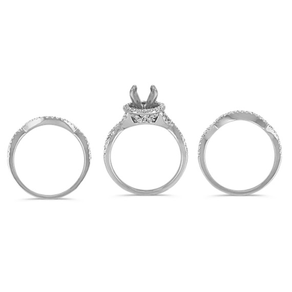Halo Swirl Diamond Triple Band Wedding Set with Pavé-Setting