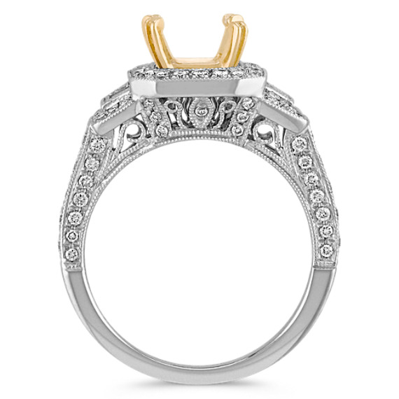 Halo Vintage Baguette and Round Diamond Engagement Ring in Two-Tone Gold