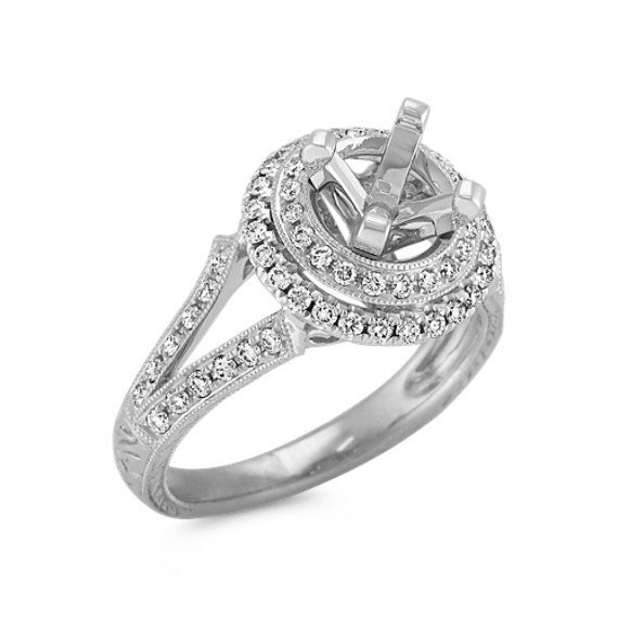 Halo Vintage Diamond Engagement Ring in Platinum