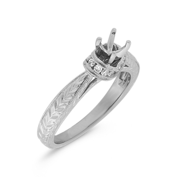 Halo Vintage Diamond Engagement Ring with Engraving