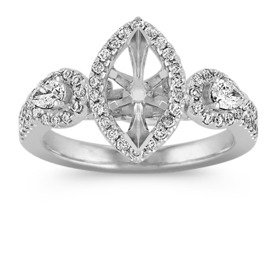 Halo Vintage Diamond Engagement Ring with Pavé-Setting