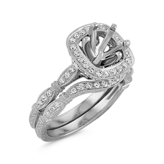 Halo Vintage Diamond Engraved Wedding Set with Pavé Setting