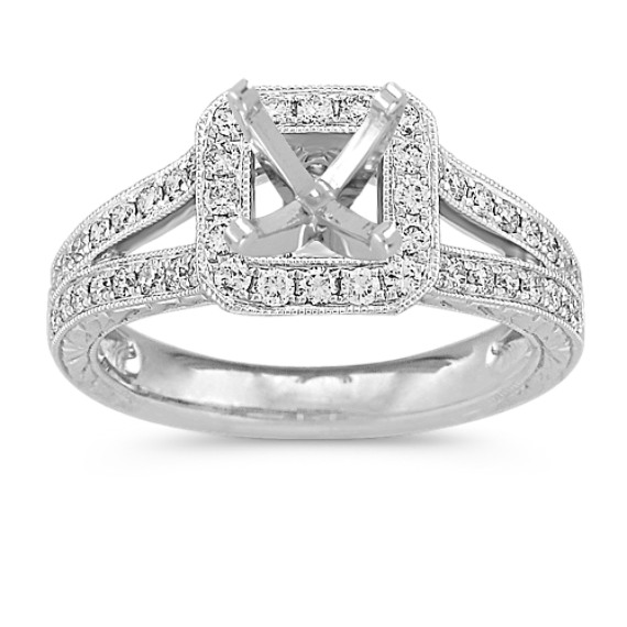 Halo Vintage Diamond Split Shank Platinum Engagement Ring with Pavé Setting