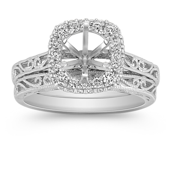 Halo Vintage Diamond Wedding Set with Pavé-Setting and Filigree
