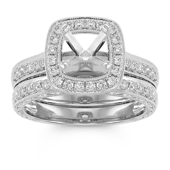 Halo Vintage Pavé Set Diamond Wedding Set in 14k White Gold