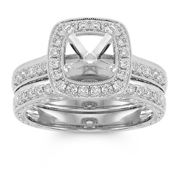 Halo Vintage Pavé Set Diamond Wedding Set in 14k White Gold