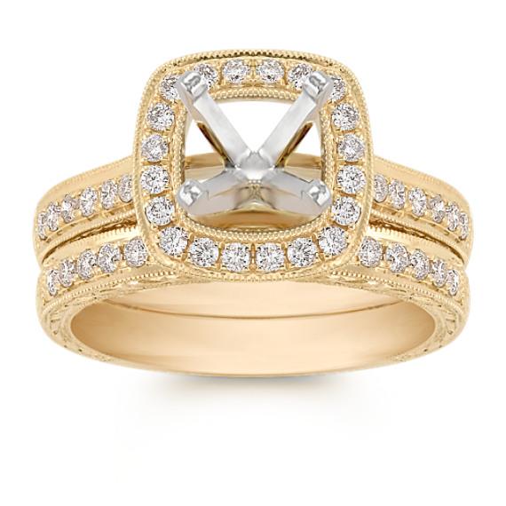 Halo Vintage Pavé Set Diamond Wedding Set in 14k Yellow Gold
