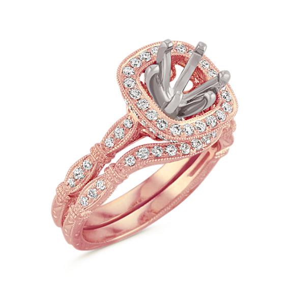 Halo Vintage Rose Gold Diamond Engraved Wedding Set with Pavé Setting