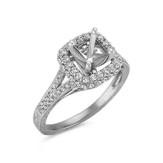 Halo Vintage Round Diamond Engagement Ring with Pavé Setting