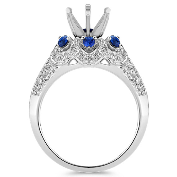 Halo Vintage Sapphire and Diamond Engagement Ring with Pavé Setting