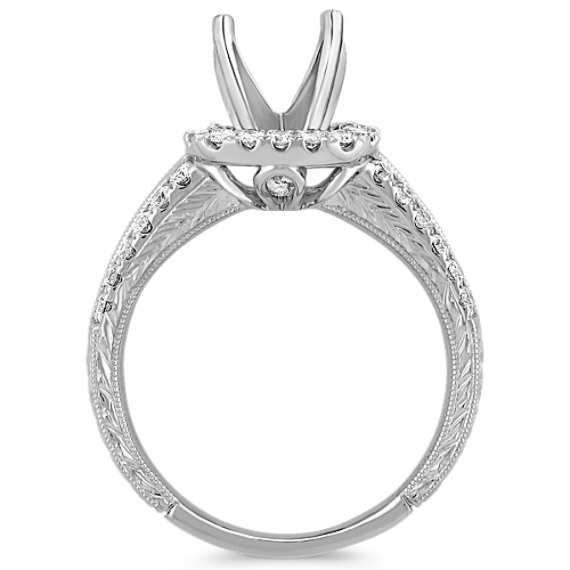 Halo with Side Baguette and Round Diamond Engagement Ring with Pave Setting