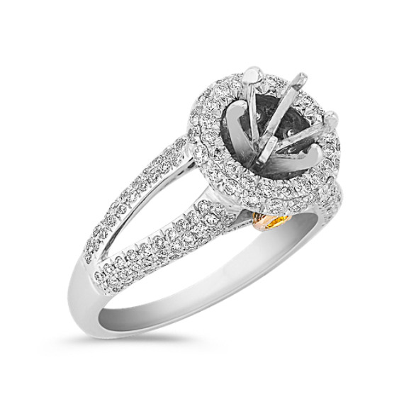 Halo Yellow Sapphire and Diamond Two-Tone Gold Engagement Ring