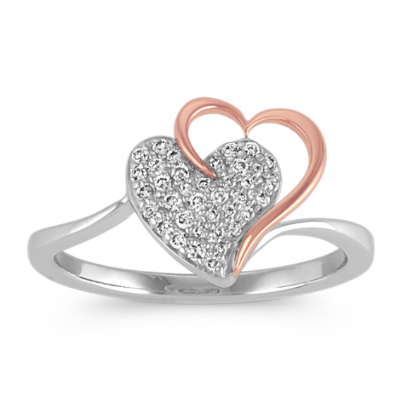 Double Heart Diamond Ring in 14k Rose Gold and Sterling Silver