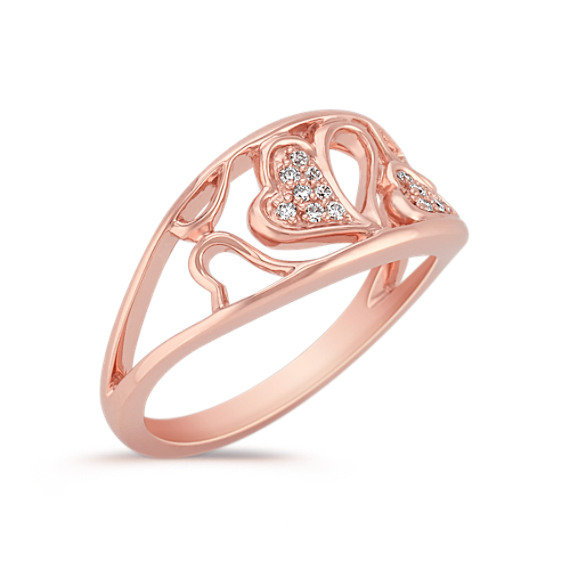 Heart Diamond Ring in Rose Gold