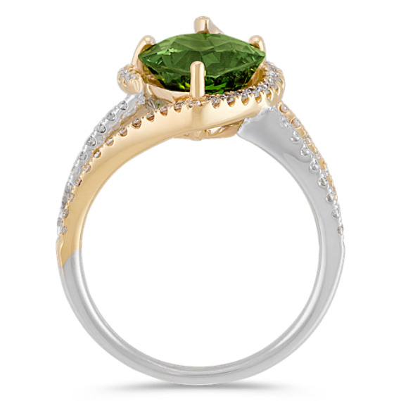 Heart-Shaped Green Sapphire and Round Diamond Ring in Two-Tone Gold