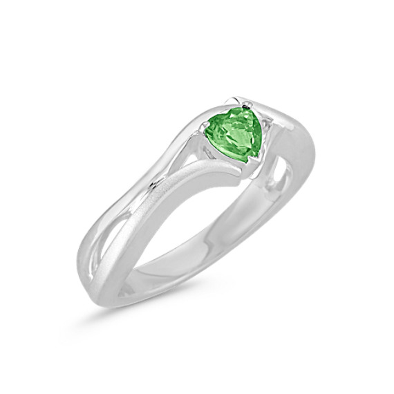 Heart-Shaped Green Sapphire Ring in Sterling Silver