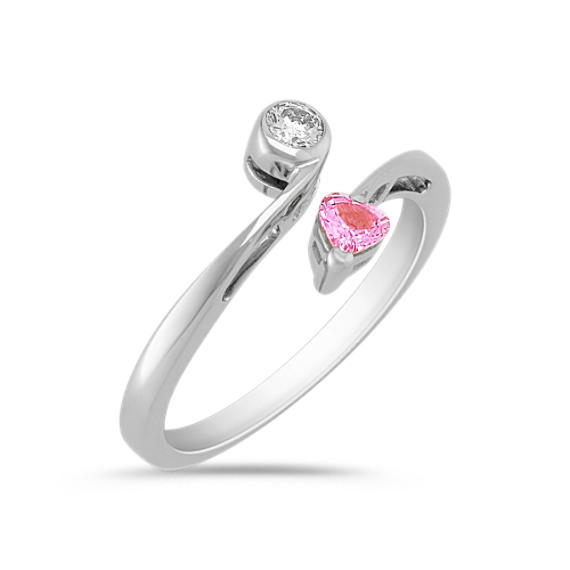 Heart Shaped Pink Sapphire and Diamond Ring