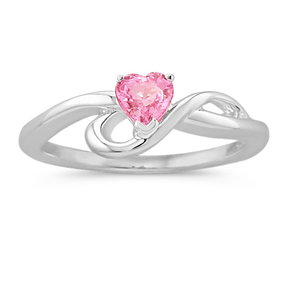 Heart-Shaped Pink Sapphire Swirl Ring in Sterling Silver
