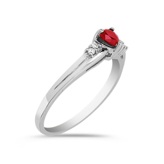 Heart Shaped Ruby and Diamond Ring