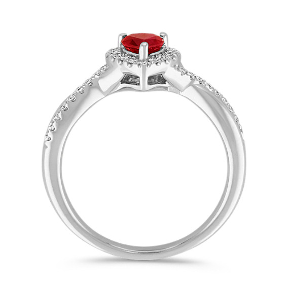Heart Shaped Ruby and Diamond Swirl Ring