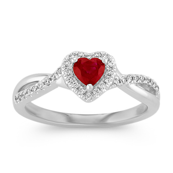 Heart-Shaped Ruby and Diamond Swirl Ring