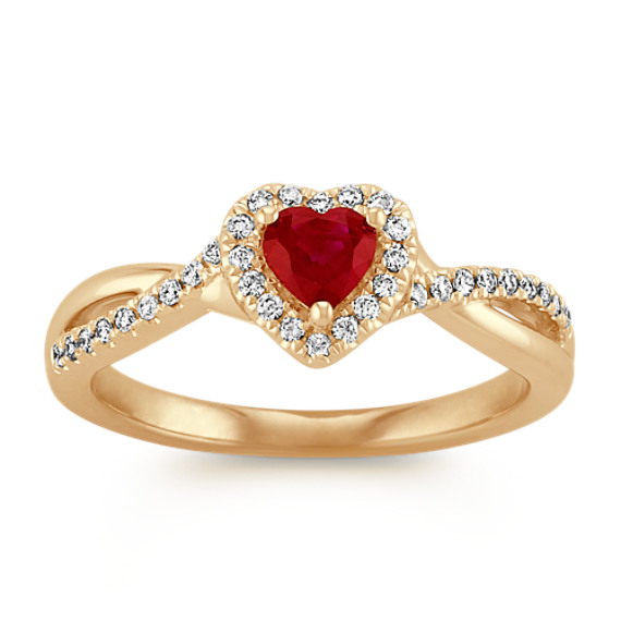 Heart Shaped Ruby and Round Diamond Swirl Ring