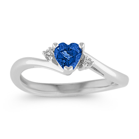 Heart-Shaped Sapphire and Diamond Ring in Sterling Silver