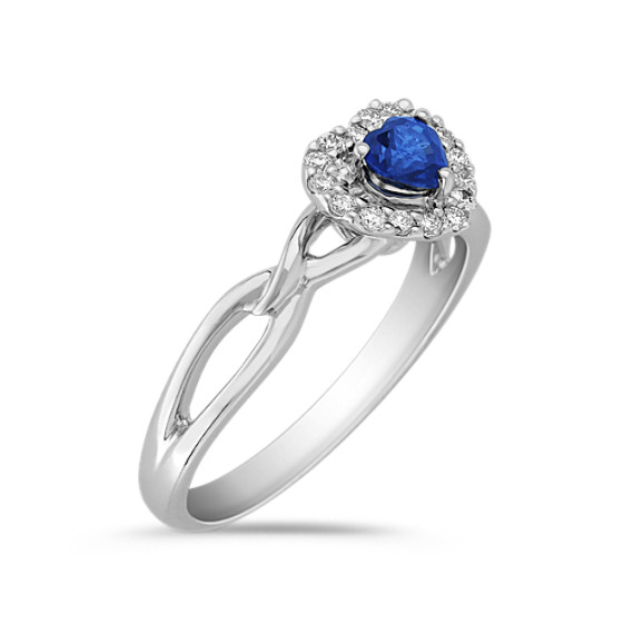 Heart-Shaped Sapphire and Diamond Ring