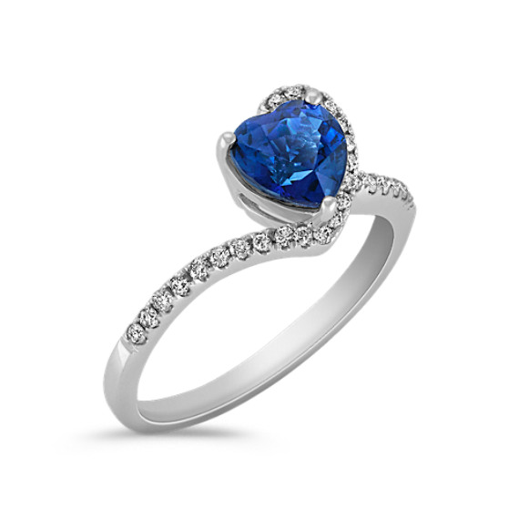 Heart-Shaped Sapphire and Round Diamond Ring