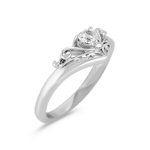 Heart-Shaped White Sapphire and Sterling Silver Ring