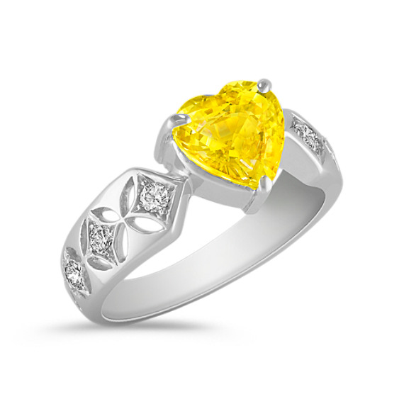 Heart-Shaped Yellow Sapphire and Round Diamond Ring