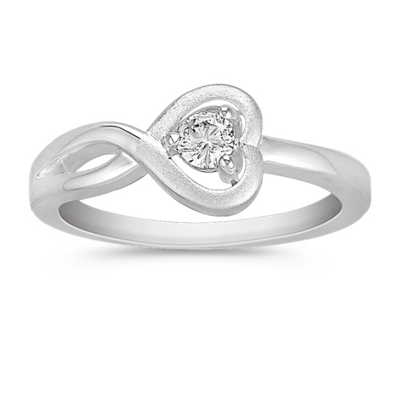 Heart Styled Round Diamond Sterling Silver Ring