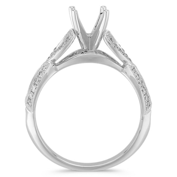 Infinity Cathedral Diamond Engagement Ring with Pavé Setting