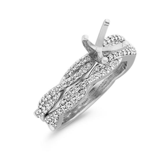 Infinity Diamond Wedding Set with Pavé Setting